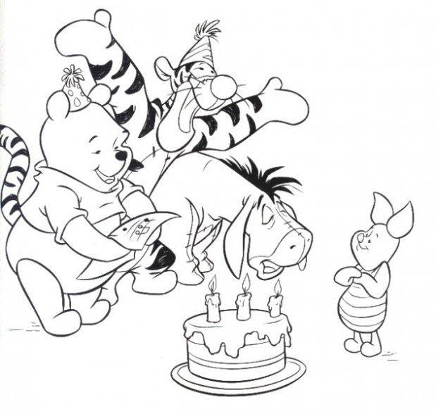Dibujo para colorear Winnie Pooh cunpleaños