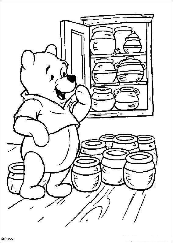 Dibujo para colorear Winnie almacena Miel
