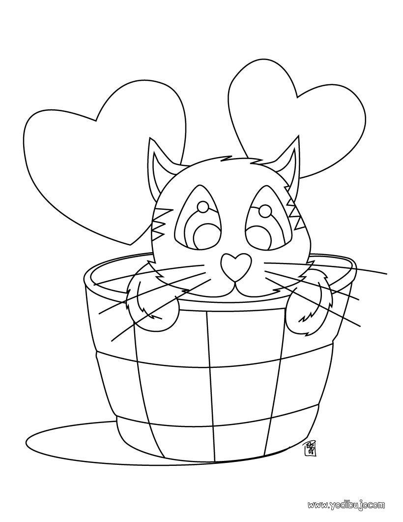 Dibujo para colorear gato enamorado
