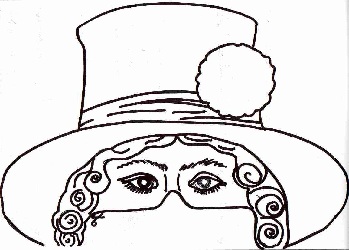 Dibujo recortable Careta de sombrero y peluca ,colorear y recortar