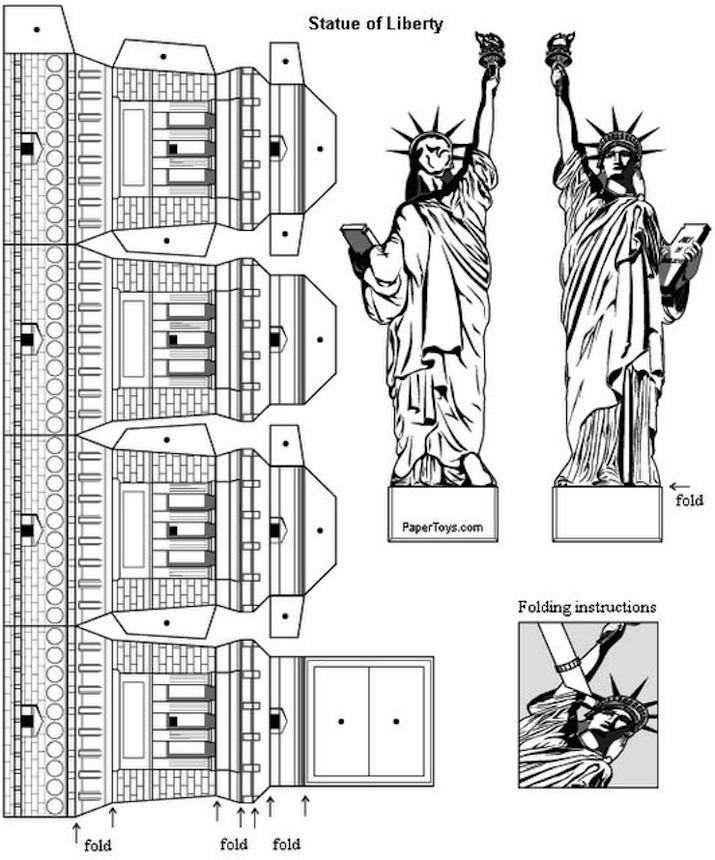 dibujo recortable estatua de la libertad  construcciones