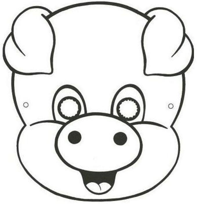 Dibujo recortable Mscara Careta de Cerdo