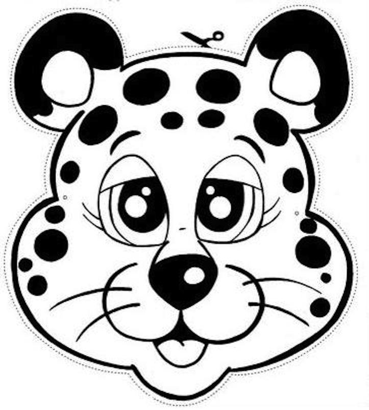 Dibujo recortable Máscara, Careta de Leopardo de las nieves