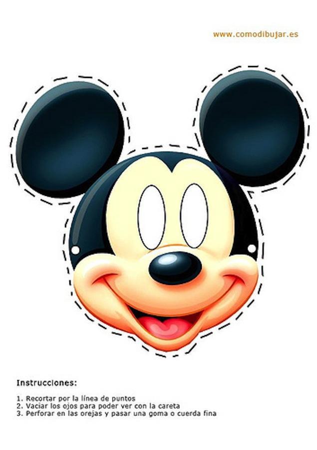 Dibujo Recortable Máscara Careta De Mickey El Ratón