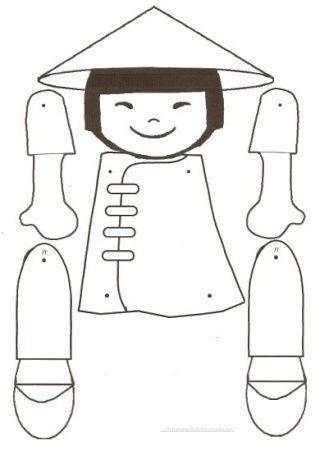 Dibujo Recortable Niño Chino